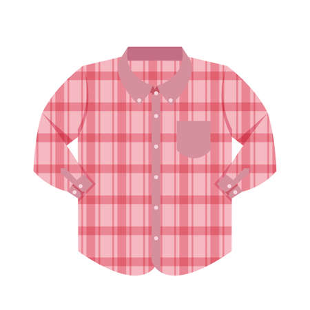 plaid shirt clothes red isolated on white background, clothes pattern plaid pink flat simple, clip art of clothing chequered long sleeve shirt, illustrations long sleeve shirt front view Vectores