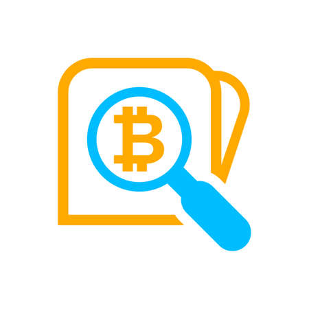 magnifying glass with bitcoin currency money symbol for icon search, bitcoin coin with magnifying glass for button app, research icon blue on orange wallet, bitcoin money symbol in search icon