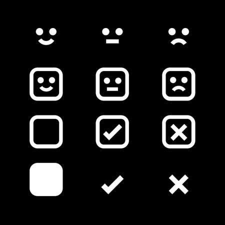 white icon emotions face, emotional symbol and approval check sign button, white emotions faces and checkmark x or confirm and deny, button white flat for apps, white icons checkmark