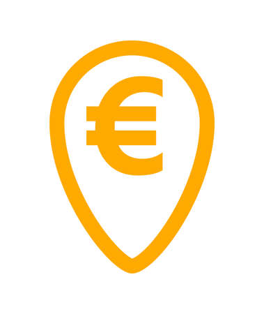 euro currency symbol in orange pin point for icon isolated on white, euro money for app icon, simple flat euro money, currency digital euro symbol for financial concept