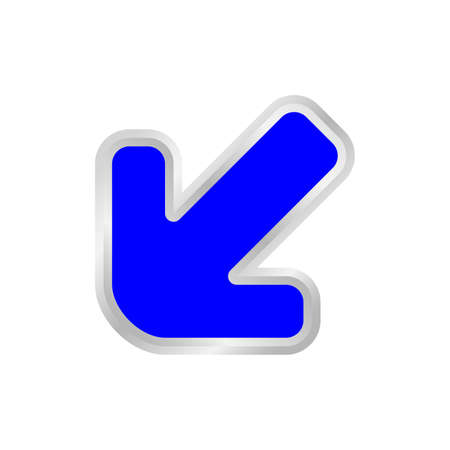 blue arrow pointing left down, clip art blue arrow icon pointing for left down, 3d arrow symbol indicates blue direction pointing left down, illustrations arrow buttons left down isolated Ilustrace