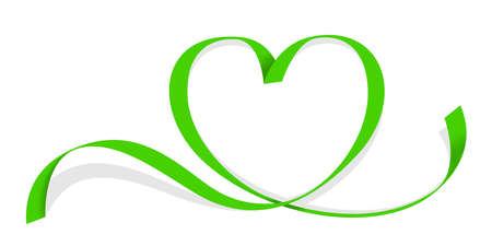 ribbon green heart shape isolated on white, ribbon line green heart-shaped, heart shape ribbon stripes green, copy space, border tape curl heart shaped for decoration greeting valentine's day