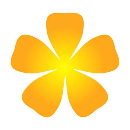 orange flower single isolated on white background, petals flower orange for clip art, illustration orange flower for kids, simple flower for card decoration graphic