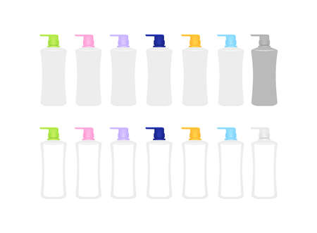 mock-up bottle plastic packaging isolated on white, bottle collection of cosmetic container design, template blank bottle for label graphic, empty bottle for lotion, shampoo, cream or soap gel product