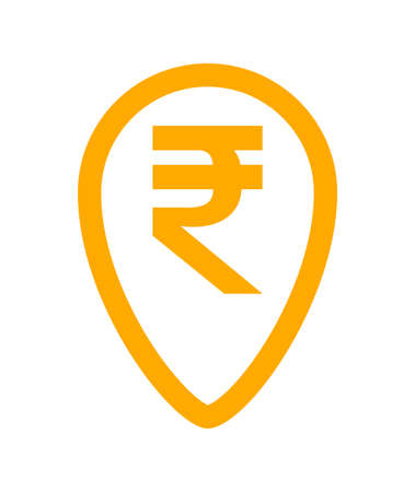 rupee currency symbol in pin point for icon isolated on white, rupee money for app symbol, orange simple flat rupee money, currency digital rupee coin for financial concept