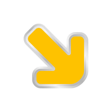yellow arrow pointing right down, clip art yellow arrow icon pointing for right down, 3d arrow symbol indicates yellow direction pointing right down, illustrations arrow buttons right down Ilustração
