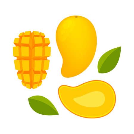mango ripe and slice isolated on white background, yellow mango slice half cut piece, illustration mango fruit and section slice for clip art