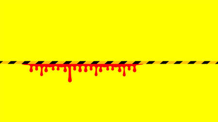 caution tape line yellow black stripe and blood drop isolated for background, warning space with ribbon tape sign or comfort safety zone, safety banner for copy space, red blood on yellow black stripe