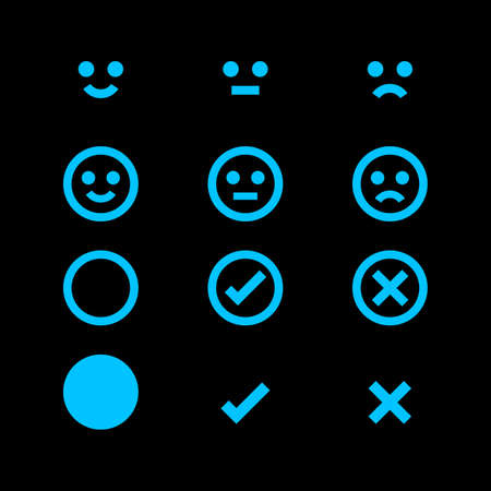 light blue glowing icon and emotions face, emotional symbol and approval check sign, fluorescent emotions faces and checkmark x or confirm and deny, button glowing flat for apps, icons check mark