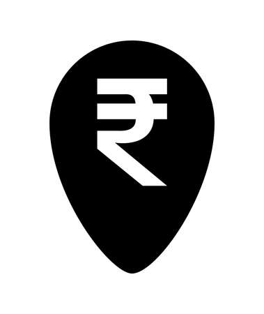 rupee currency symbol in pin point for icon isolated on white, rupee money for app symbol, black simple flat rupee money, currency digital rupee coin for financial concept Illustration