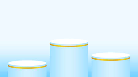 light blue pedestal cylinder circle 3 steps for cosmetics showcase, podium circle stage blue pastel soft color, platform steps for advertising, podium round for product display, copy space Illustration