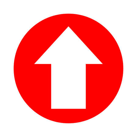 arrow pointing up white in circle red for icon flat isolated on white, circle with up arrow for button interface app, arrow sign of next or download upload concept, arrow simple symbol for direction Illustration