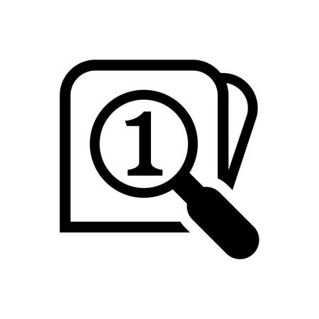 magnifying glass with number one for search icon isolated on white, find button 1 flat simple with magnifying glass, research icon black color graphic, search symbol for button web or app concept