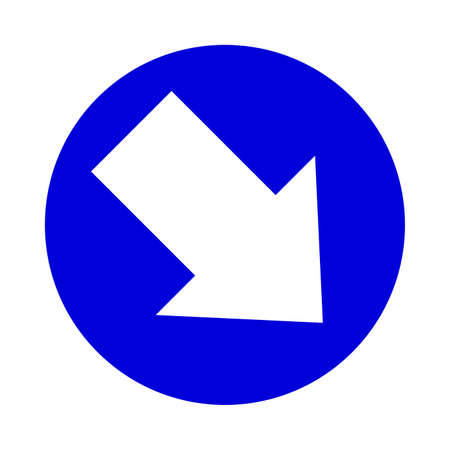 arrow pointing right down in circle blue for icon flat isolated on white, circle with arrow for button interface app, arrow sign of next or download upload concept, arrow simple symbol for direction Illustration
