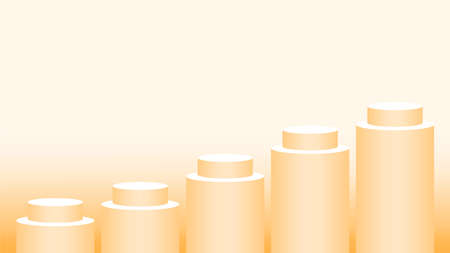 orange pedestal cylinder circle 5 steps for cosmetics showcase, podium circle stage orange soft pastel, platform five steps and advertising copy space, podium round for product display Illustration