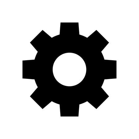 circle cog black for mechanization icon isolated on white, gear symbol for button black icon for progress web, simple circle cog shape for engineering mechanism, machinery industrial technology sign