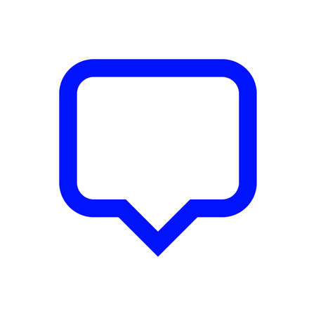 blue speech bubble sign isolated on white, bubble speak icon trendy flat design, simple square dialog message for icon, speech bubble square blue for button, text box for comment symbol