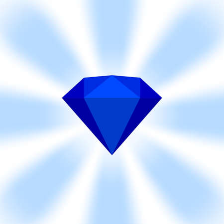 blue diamond gemstone on zoom comics, blue flat diamonds jewelry icon, blue gems on soft rays burst shine background, blue diamond of items game, clip art gemstone for banner jewellery copy space Illustration