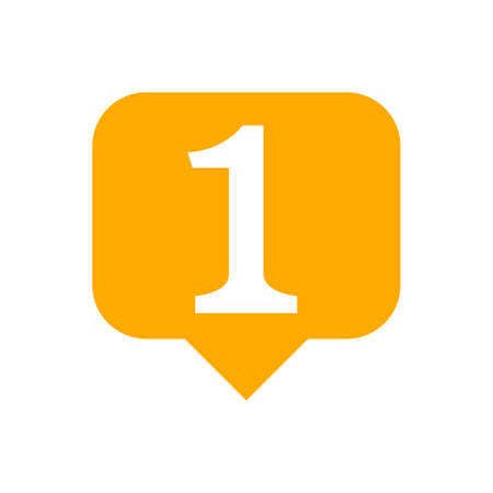number 1 in speech bubble orange, flat currency symbol one 1 money, first symbol with square shape, 1st symbol for success or quality, icon one for winner, simple number one button
