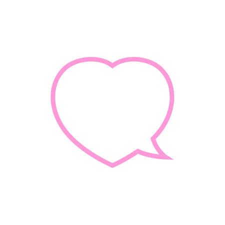 speech bubble heart shape pink isolated on white, dialog heart for graphic chat talk sign, speech bubble for copy space, conversation comic heart symbol, heart shape pink balloon for dialog speech
