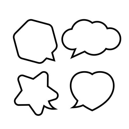 star shaped speech bubble, heart shaped speech bubble, hexagon speech bubble, cloud speech bubble, geometry balloon black isolated on white for copy space Illustration