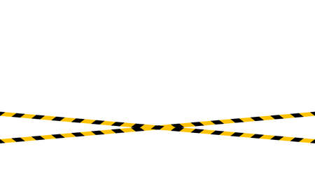 caution tape line, tape yellow black stripe pattern on white for background, warning space with ribbon tape sign for comfort safety zone, safety banner for copy space, ribbon yellow black stripe