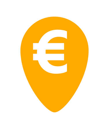 euro currency symbol in orange pin point for icon isolated on white, euro money for app icon, simple flat euro money, currency digital euro symbol for financial concept Illustration