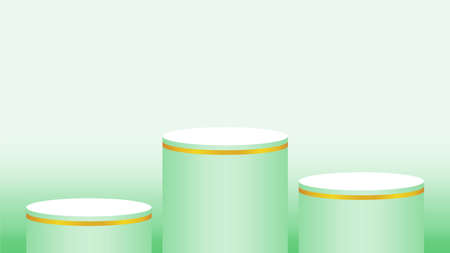 pedestal cylinder circle three steps for cosmetics showcase, 3d podium circle stage green pastel soft color, platform 3 step for advertising copy space, podium circle round 3 layers of product display