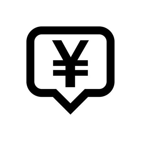 yen currency symbol in speech bubble square isolated on white, yen money for app symbol, simple flat yen money, currency digital yen icon for financial concept
