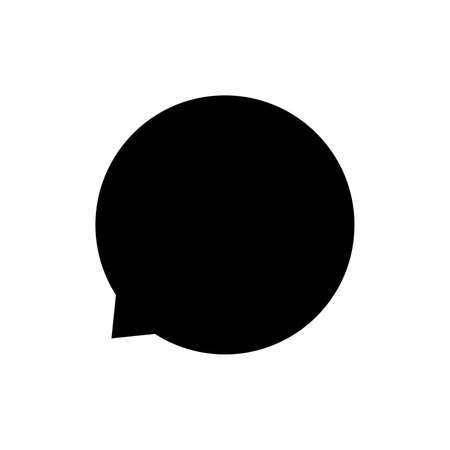 speech bubble circle isolated on white, speech balloon sign of communication symbol, black and white speech bubble for talk text,  balloon message icon, dialog chatting graphic for icon talk Illustration