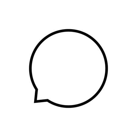 speech balloon circle isolated on white, speech bubble sign of communication symbol, black and white speech bubble for talk text,  balloon message icon, dialog chatting graphic for icon talk