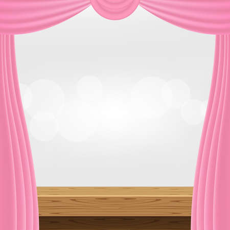 empty wood table and luxury pink curtains for advertise product display, wooden top table decoration with curtain, wood plank board space for banner copy space text, tabletop front view for banner ad