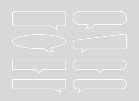 speech bubble horizontal outline shape isolated on grey, speech balloon sign of communication symbol, art line white speech bubble for talk text, balloon message icon, dialog chatting graphic
