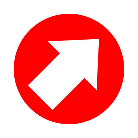 arrow pointing right up in circle red for icon flat isolated on white, circle with arrow for button interface app, arrow sign of next or download upload concept, arrow simple symbol for direction