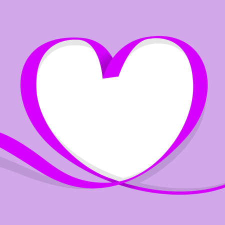 ribbon purple heart shape isolated on purple, copy space, ribbon line purple heart-shaped, heart shape ribbon stripes for banner, border tape curl heart shaped for decoration greeting valentine card Stock Illustratie