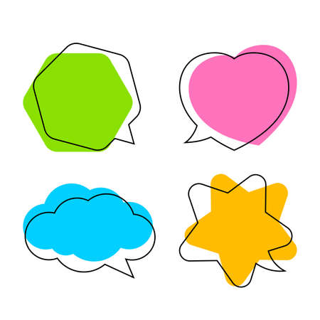 simple star shaped speech bubble yellow, heart shaped speech bubble pink, hexagon speech bubble green, cloud speech bubble blue, geometry balloon colorful and isolated on white for copy space