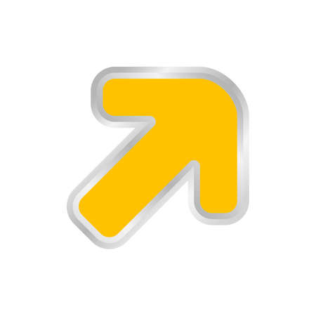 yellow arrow pointing right up, clip art yellow arrow icon pointing for right up, 3d arrow symbol indicates yellow direction pointing to right up, illustrations arrow buttons right up isolated