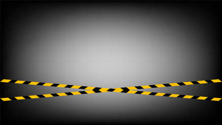 tape line yellow black stripe pattern on black gradient background, warning space with ribbon tape sign or comfort safety zone, safety banner, ribbon yellow black stripe, tape line caution, copy space