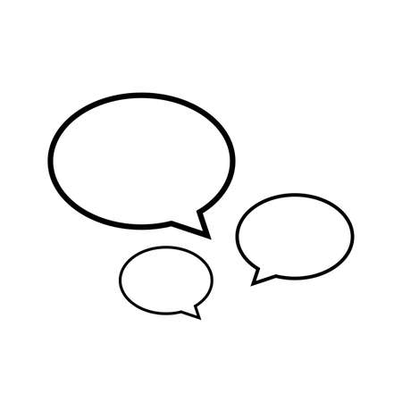 speech bubble line ellipse isolated on white, dialog circle shape for graphic chat talk sign, speech bubble for copy space text, conversation comic circle symbol, circle art line balloon dialog speech Stock Illustratie