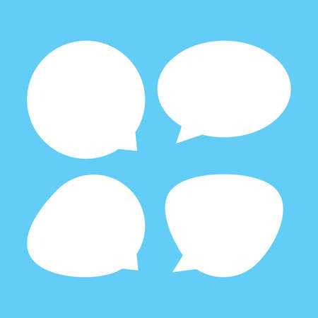 white speech bubble isolated on blue, speech balloon ellipse sign for communication symbol, doodle white speech bubble for talk text,  balloon message icon, dialog chatting graphic for icon talk Stock Illustratie