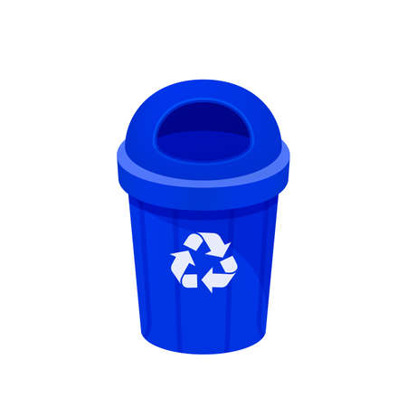 blue bin isolated on white background, clip art of recycle bin small, illustration blue bin plastic, flat icon bin waste, blue trash can, dustbin for garbage with recycle symbol Stock Illustratie