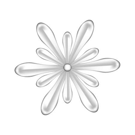 single flowers silver ornate isolated on white background, luxury flower petal silver simple, silver flowers object metal sculpture, illustration of deluxe silver flower, clip art flowers luxurious Stock Illustratie