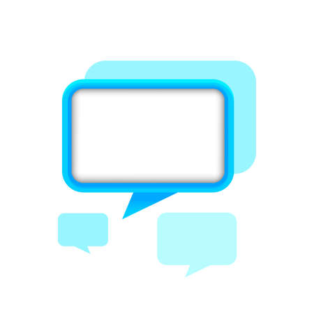 speech bubble square shape blue color for message, copy space, dialog chat box modern, speech balloon graphic for text chat and conversation sign, speech bubble symbol for banner background