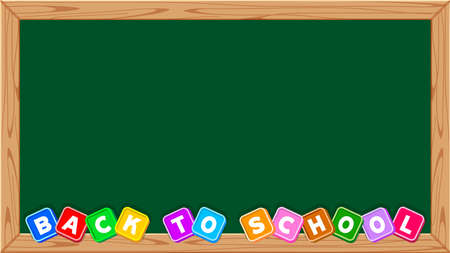 back to school text on blackboard school for banner background, cute lettering back to school on chalkboard frame for alphabet writing, banner ad blackboard green for copy space and wooden frame brown