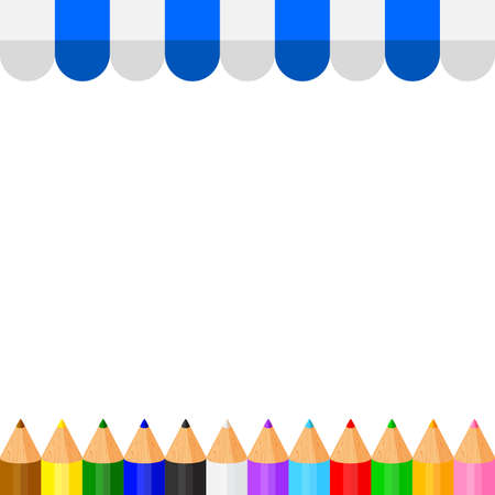 colorful crayon pastel pencils cute in a row on banner awning copy space, collection colored pencils rows for banner preschool kids, clip art crayon pencil, rainbow pencil kindergarten child learning Stock Illustratie