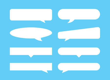 speech bubble horizontal shape isolated light blue, speech balloon sign of communication symbol, white speech bubble for talk text, balloon message icon, dialog chatting graphic