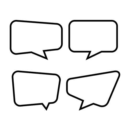 speech bubble isolated on white, speech balloon square sign for communication symbol, doodle line speech bubble for talk text, balloon message icon, dialog chatting graphic for icon talk, vector Stock Illustratie