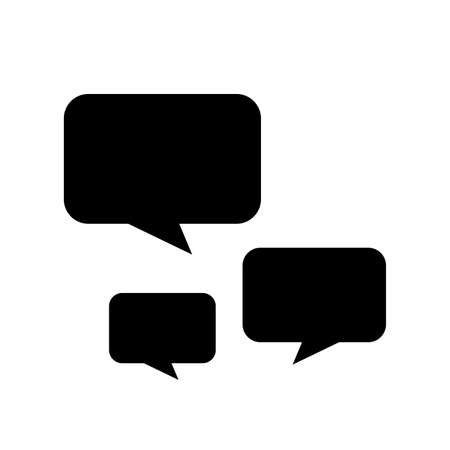 black speech bubble square isolated on white, speech balloon sign of communication symbol, black speech bubble for talk text,  balloon message icon, dialog chatting graphic for icon talk
