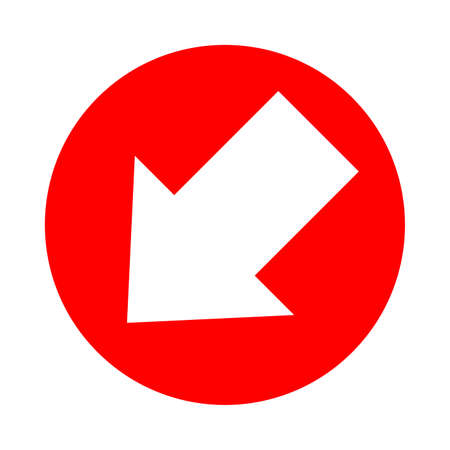 arrow pointing left down in circle red for icon flat isolated on white, circle with arrow for button interface app, arrow sign of next or download upload concept, arrow simple symbol for direction