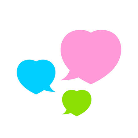 speech bubble heart shape isolated on white, dialog heart for graphic chat talk sign, speech bubble for copy space, conversation comic heart symbol, heart balloon for dialog speech Stock Illustratie